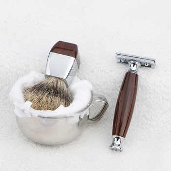 HAWARD RAZOR Classic Safety Razor With 100% High Quality Pure Badger Hair Shaving Brush Stand For Double Edge Razor