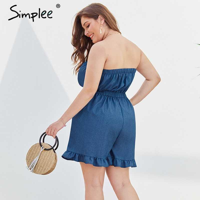 Simplee с открытыми плечами синий джинсовый комбинезон большие размеры Сексуальная Кнопка рюшами Женская летняя обувь весенний комбинезон Повседневное праздник пляжный комбинезон
