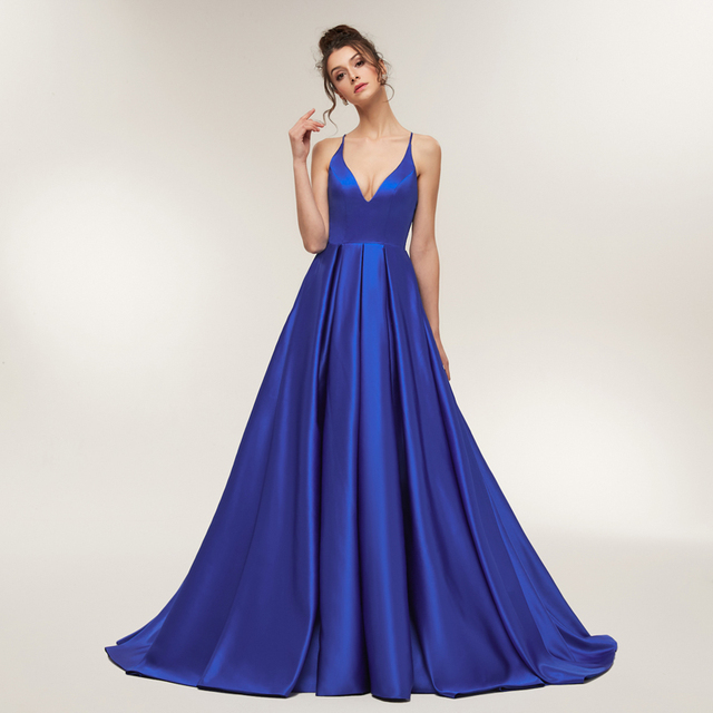 Royal Blue Sexy Prom Dresses 2018 Long Girl Satin Spaghetti Strap Party Dresses Long Open Back Evening Dresses Real Sample