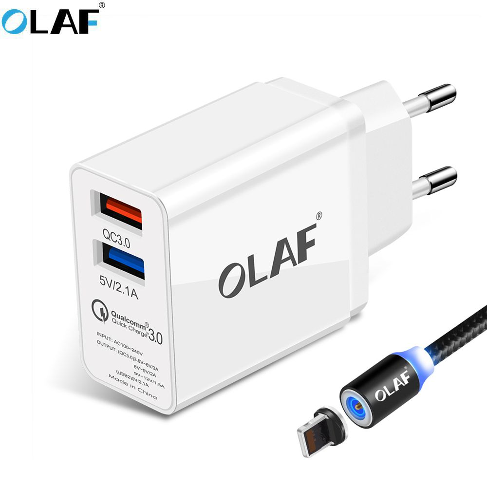 OLAF Dual Port USB Charger 30W Quick Charge 3.0 Mobile Phone Charger Travel EU Plug Wall Charge Adapter Magnetic Micro USB Cable