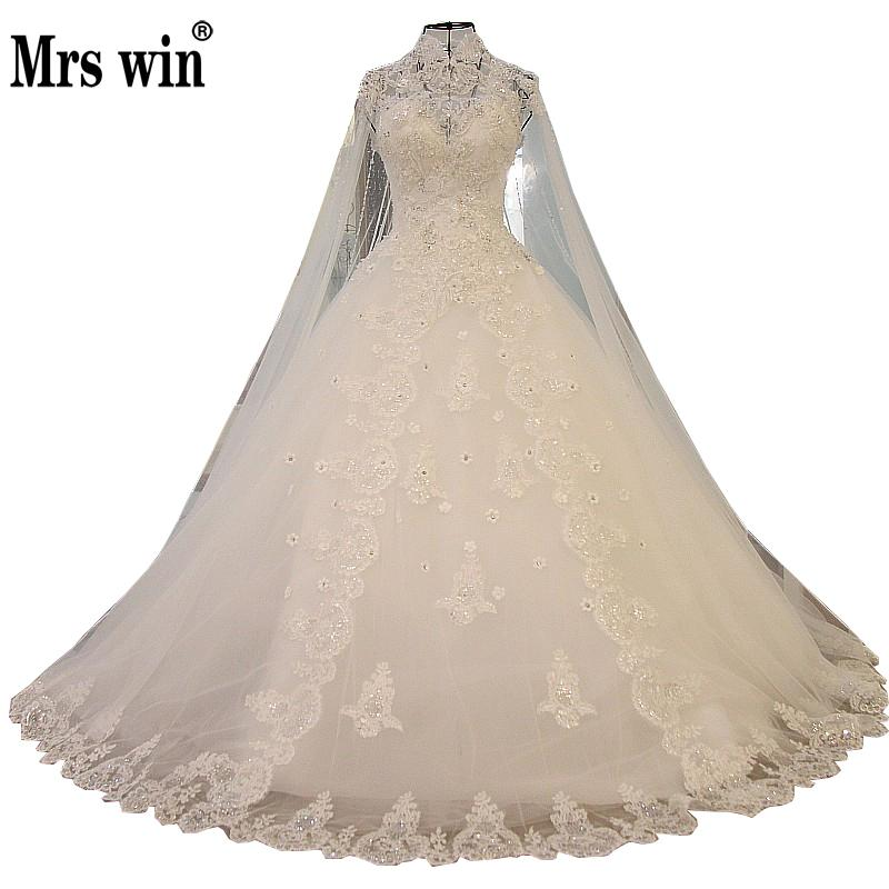 Mrs Win 2019 New Princess Luxury Wedding Dress Lace Embroidery Ball Gown With A Cape Vestido De Novias Can Custom Made F