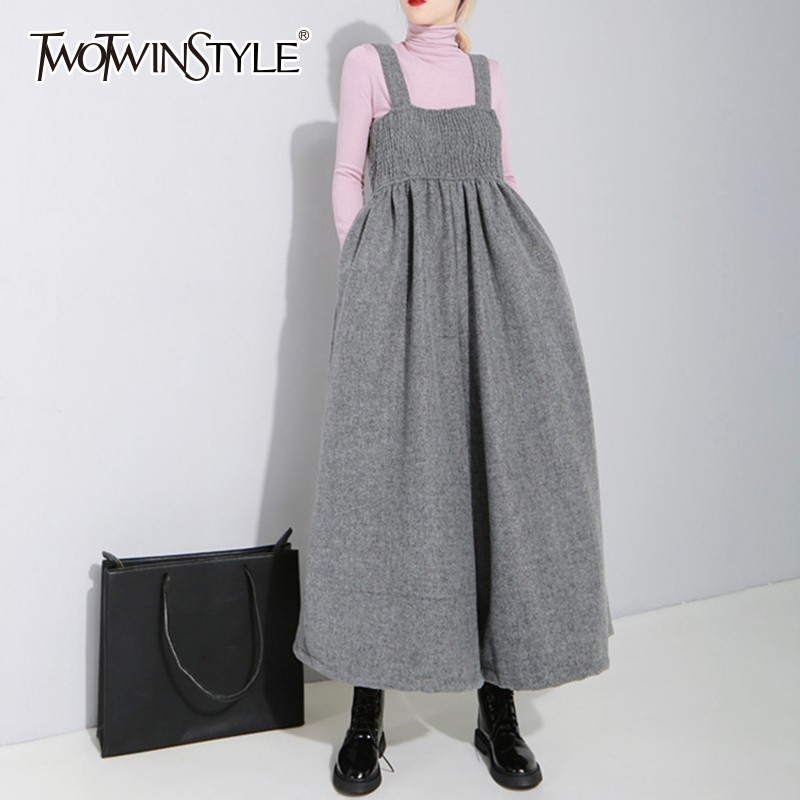 TWOTWINSTYLE Woolen Jumpsuits For Women Sleeveless High Waist Oversized Casual Wide Leg Pants Female 2019 Spring