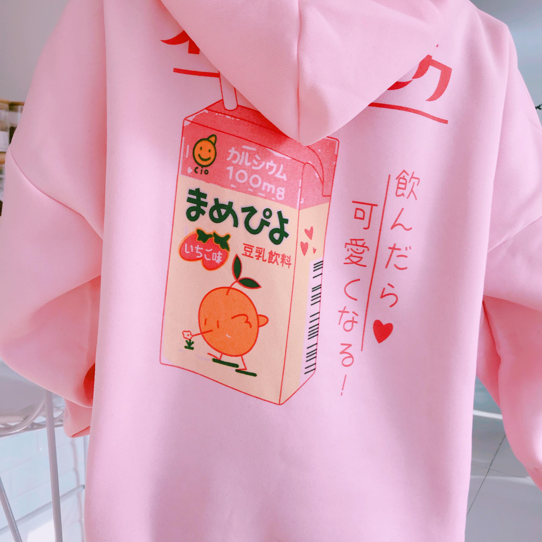 Kawaii Harajuki Kpop Pastel Orange Juice Sweatshirts 1