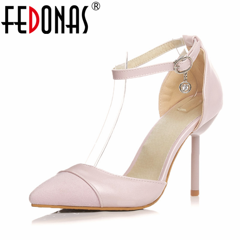 FEDONAS New Spring Fashion Pointed Toe Stilettos Women Pumps High Heels Shoes Female Mary Jane Prom Wedding Shoes Plus Size plus size 34 49 new spring summer women wedges shoes pointed toe work shoes women pumps high heels ladies casual dress pumps