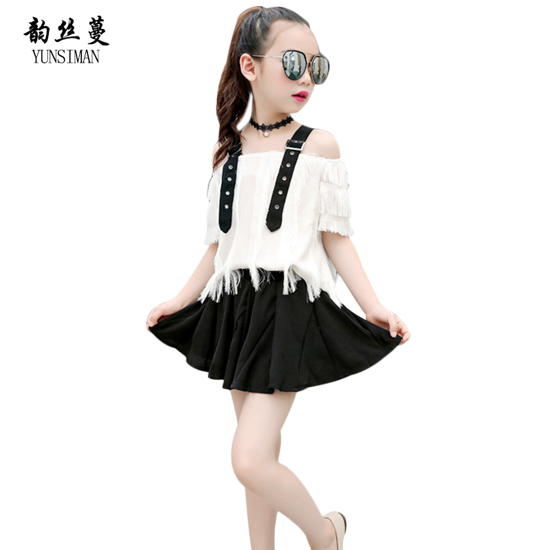 New Children Clothes Skirt Sets Baby Girls Summer Clothing Tassel Spaghetti Strap T Shirt Girls Black Skirt Suits 3 - 12 Y 5C88