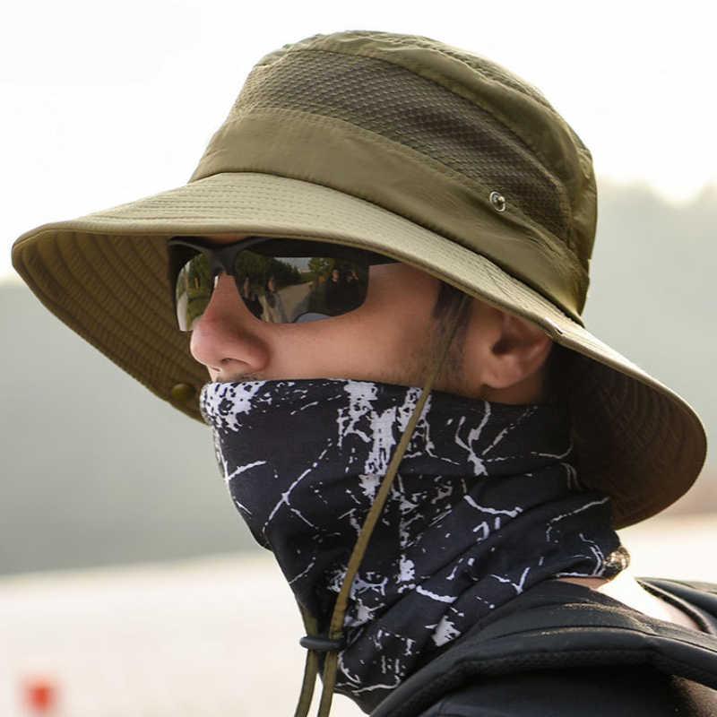 HT2433 летнее солнце шляпу Для мужчин Для женщин Обувь с дышащей сеткой широкий Панама с полями Flat Top охотничья рыболовная шляпа рыбака Для мужчин полями