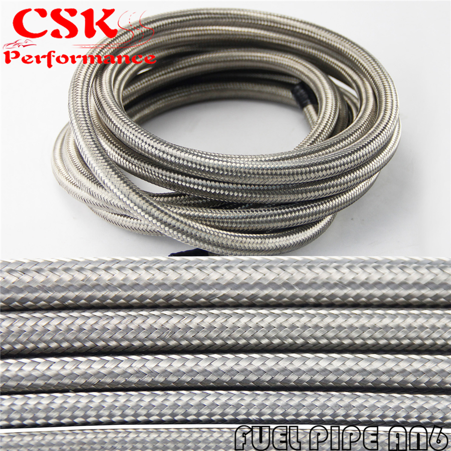 5M STAINLESS STEEL / NYLON BRAIDED 15KPSI AN6 6AN OIL/FUEL LINE/HOSE 5METER 15T BLACK / SILVER 2l aluminium an6 fuel surge tank 2 litre swirl port 5m fuel oil line an6 hose end adapter system kit black and red