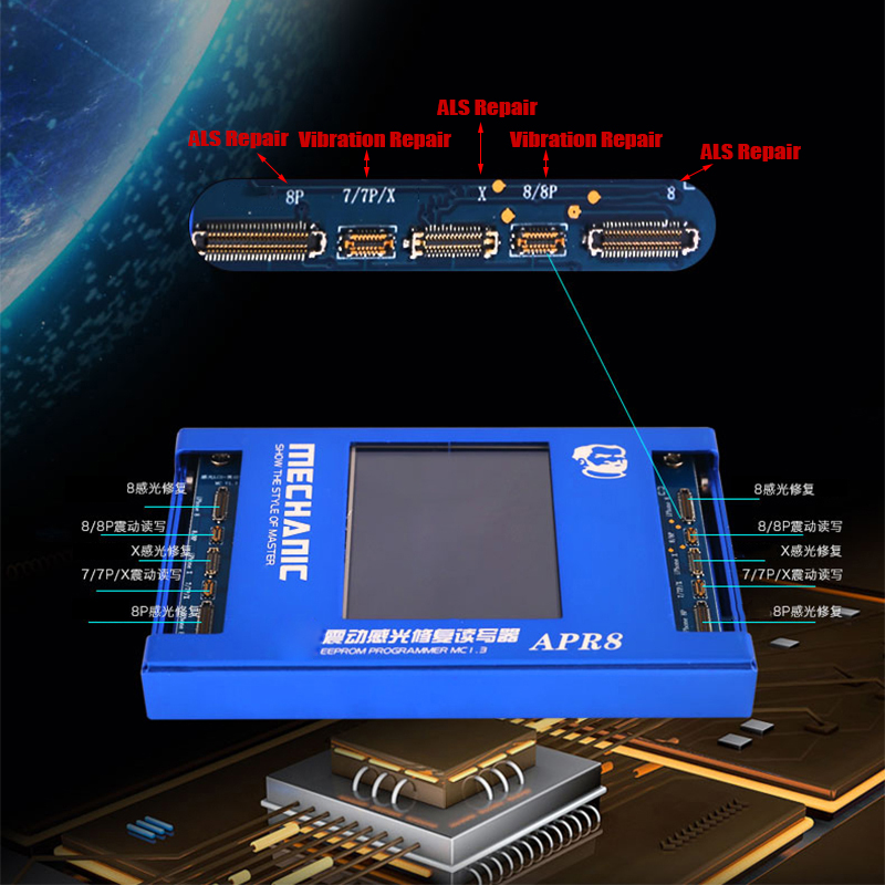 все цены на LCD Screen Light Sensor Programmer Box For iPhone 7/7P/8/8P/X LCD Screen EEPROM IC Photosensitive Data Programmer онлайн