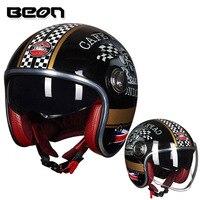 BEON B 108A motorcycle helmet 3/4 open face helmets motocross vintage casque Moto Casque Casco Capacete Retro Helmet