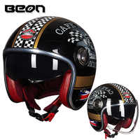 BEON B-108A casque moto rcycle 3/4 casques visage ouvert moto cross vintage Casque moto casque Casco Capacete Casque Retro