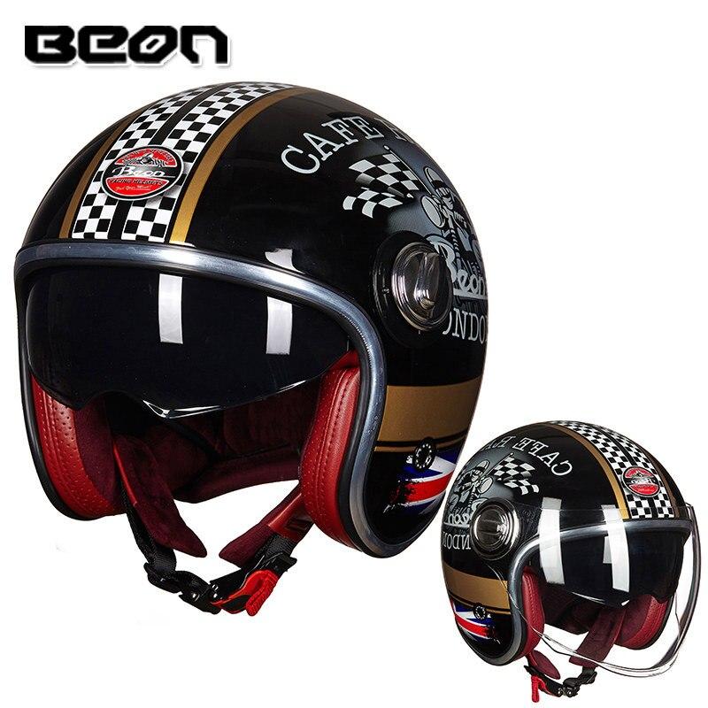 BEON B-108A moto rcycle casco 3/4 viso aperto caschi moto croce vintage casque moto Casque Casco Capacete Retro del Casco
