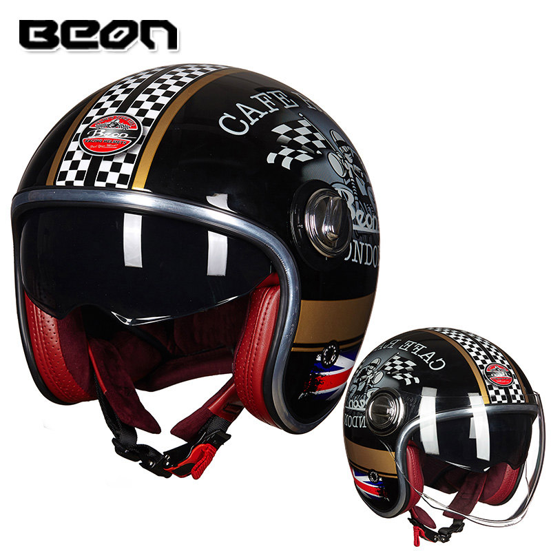 BEON B-108A motorcycle helmet 3/4 open face helmets motocross vintage casque Moto Casque Casco Capacete Retro Helmet beon vintage off road motocross feminino motorcycle half helmet head headgear casque capacete casco riding for harley helmets