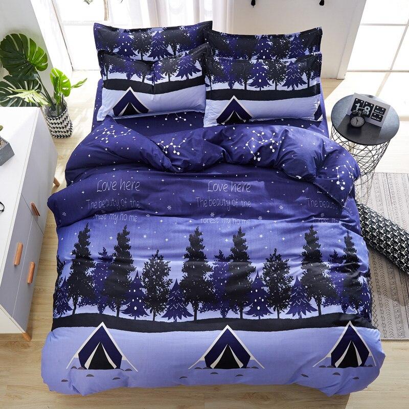 Bedding-Set Flat-Sheet Forest-Trees Christmas-Gifts Pillowcase Duvet-Cover 3/4pcs Friendly