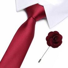 Brand Wine red Tie for Men 100% Silk Necktie Designer Fashion Ties 7.5cm and brooch Wedding Party gift men