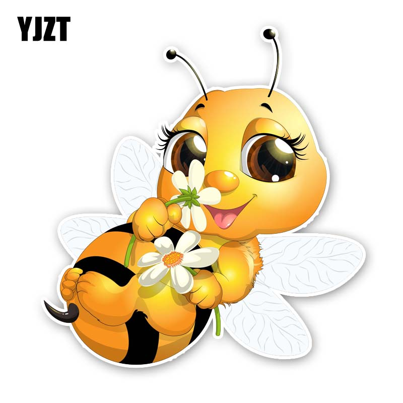 YJZT 14.4CM*15.2CM A Lovely Little Bee PVC Car Sticker Decal 12-300594