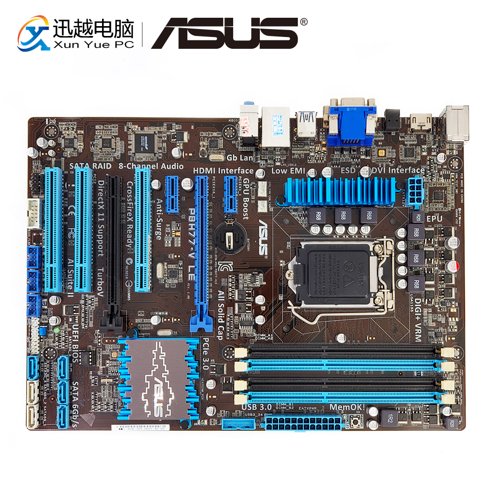 Asus P8H77-V LE Desktop Motherboard H77 LGA 1155 22nm i3 i5 i7 DDR3 32G SATA3 USB3.0 VGA DVI HDMI ATX цены онлайн