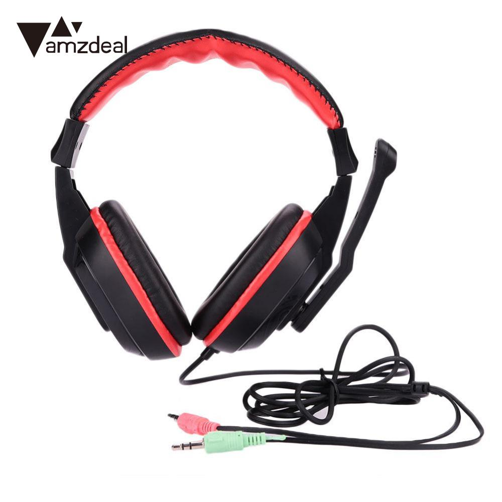amzdeal Gaming Stereo Headphones bass Headset Earphone w Noise canceling Mic for PC Computer gamer chat