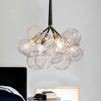 Modern Transparent Glass Bubble Pendant Light Suspension Hanging Lamp Glass Lampshade for Living Room Bedroom Clothing Shop