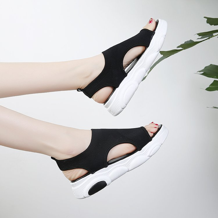 2019 Summer Women 39 s Shoes Flat Mid heel Non slip Sandals Fish Mouth Sandals Solid Color Air Mesh Slip on Open Toe EUR35 40 in Low Heels from Shoes