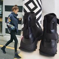 SWYIVY Sock Boots Platform Autumn 2018 Female Fashion Ankle Boots Black Hook Loop Lady Hip Hop Autumn Shoes Woman Boots 40