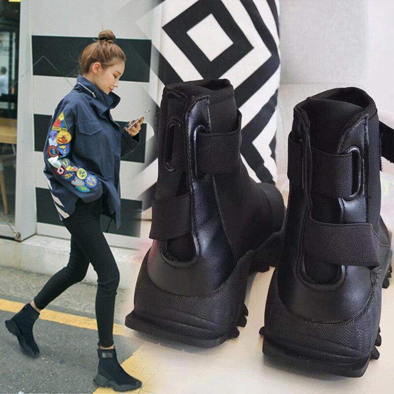 SWYIVY chaussette bottes plateforme automne 2018 femme mode bottines noir crochet boucle dame Hip Hop automne chaussures femme bottes 40