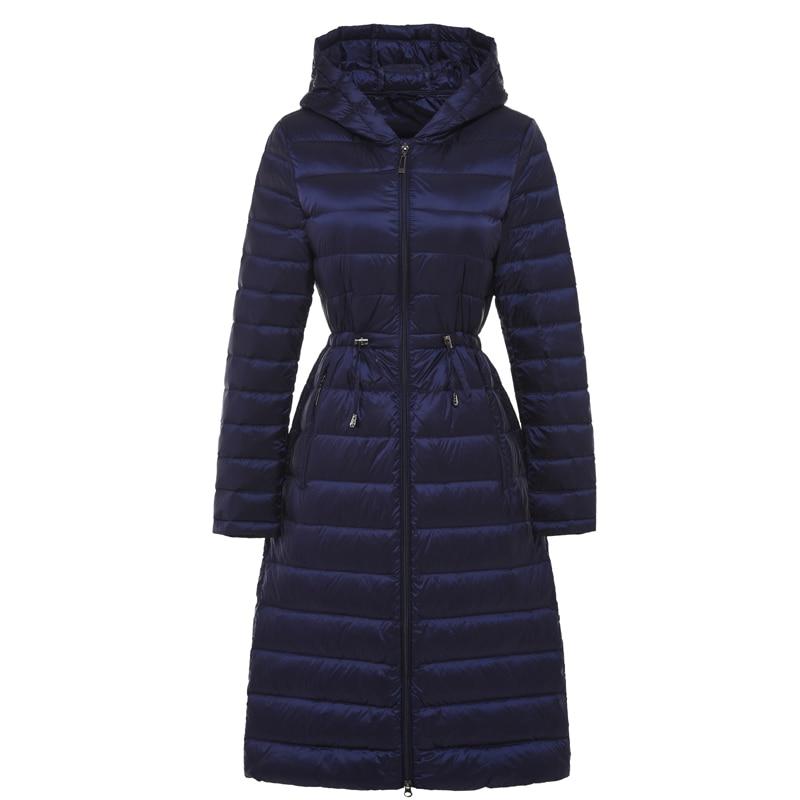Женские Длинные невесомая куртка женская с капюшоном ультра легкий мягкий Куртки зимнее пуховое пальто Повседневные куртки одноцветное