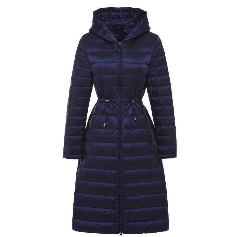 e609d05ec7a4 Женская длинная невесомая куртка с капюшоном ультра легкие стеганые куртки  зимнее пуховое пальто повседневные парки однотонные