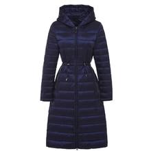 Женские Длинные невесомая куртка женская с капюшоном ультра легкий мягкий Куртки и пиджаки зимнее пуховое пальто Повседневные куртки одноцветное