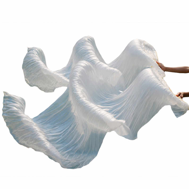 High Quality Silk Belly Dance Fan Dance 100% Real Silk Veils 1pc Left hand+1pc right hand on Sale white color