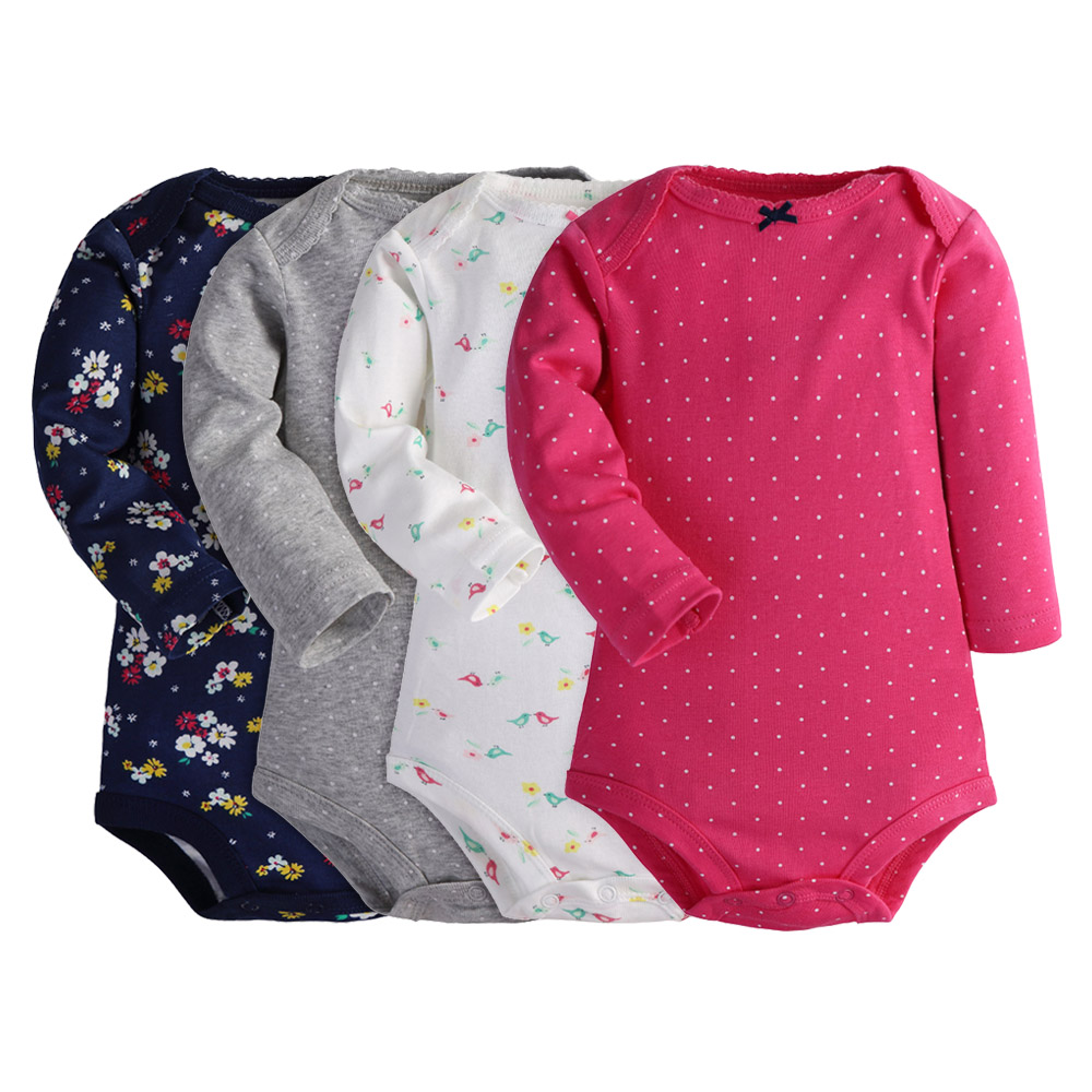 Baby Bodysuits For Baby Girls Baby Boys Cotton Clothes 4PC Long Sleeves Warm Clothing Autumn clothes