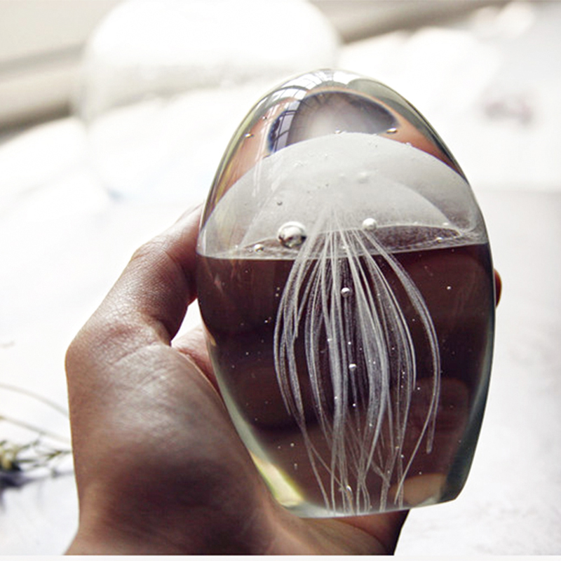 Home Decoration Glass Jellyfish Paperweight Crystal Ball Feng Shui Crafts Multicolored Blue Terrarium Figurines Accessories