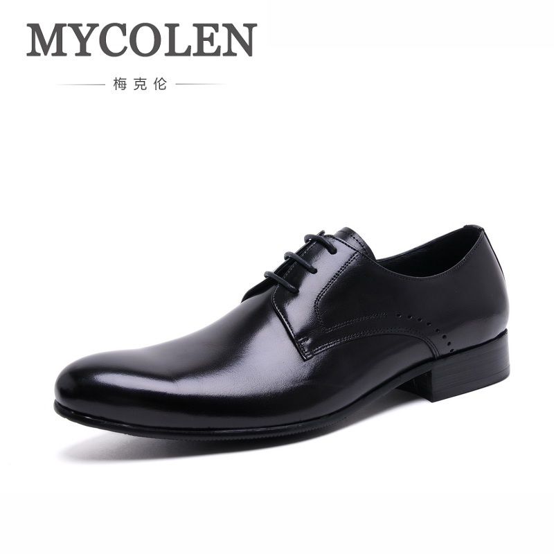 MYCOLEN Handmade British Style Luxury Wedding Party Lace-Up Dress Shoes Cozy Genuine Leather Shoe Mens Derby Dress Shoes 2017 new style man shoe goodyears handmade mens oxford shoes wedding party dress 100