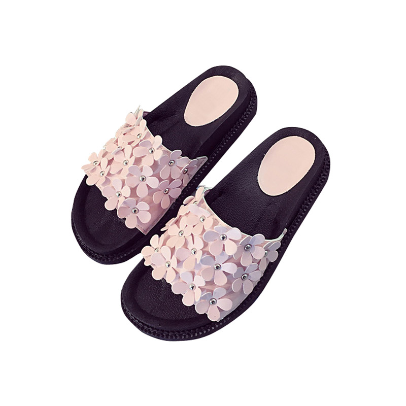 776ea069511 Summer Korean Women Shoes Woman Flip Flops Flower Diamond Flat Thick Ladies  Sandals Solid Casual Leisure Shoes Sandalias Mujer