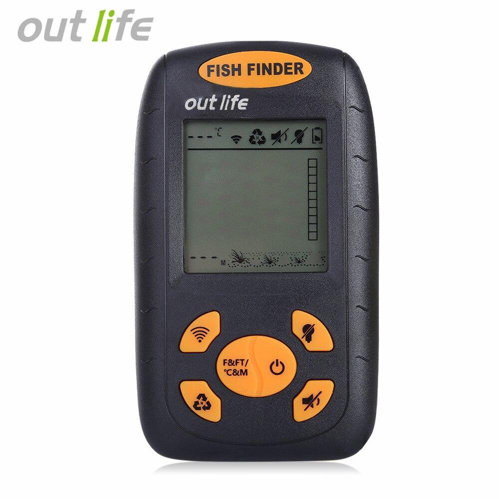 цена на Outlife Fishing Wire Fish Finder Echo-Sounder Depth Sounder 125kHz Sonar Sounder Range 0.6-100M Alarm Transducer