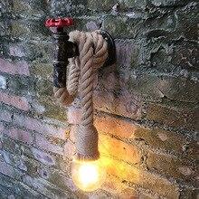 Loft decor industrial iron pipe wall lamp for Kitchen Bedroom Living room vintage wall lamp Rope Restaurant Bar vanity light