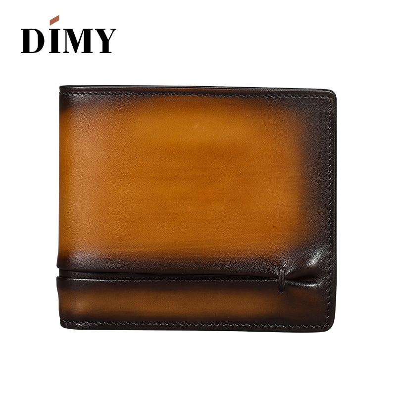 DIMY Women's Bag Fashion Genuine Leather Wallets Folding Short Men Wallets Handmade Folding Ruched Multi-card Holder Male Wallet