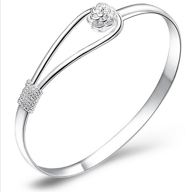 New Jewelry Silver Plated Simple Circle Bangles Indian Jewelry Flower Rose Cuff BangleBracelets High Quality