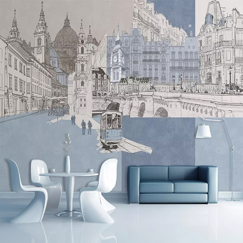Custom Mural Modern Hand-painted City Architecture Mural Bedroom Living Room TV Background Wall Decoration Non-woven Wallpaper