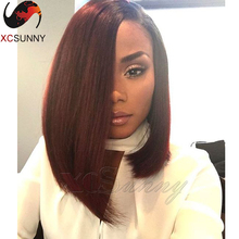 2016 New Fashion One Side Long Brazilian Human Hair Ombre Lace Front Wigs Straight Two Tone #1B/99J Full Lace Bob Haircut Wig