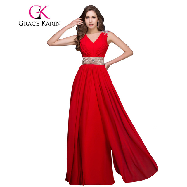 70b561e48324 Grace Karin Elegant Deep V Neck Red Special Occasion Dress Sexy Celebrity  Long Red Evening Dresses Crystals Formal Evening Gown