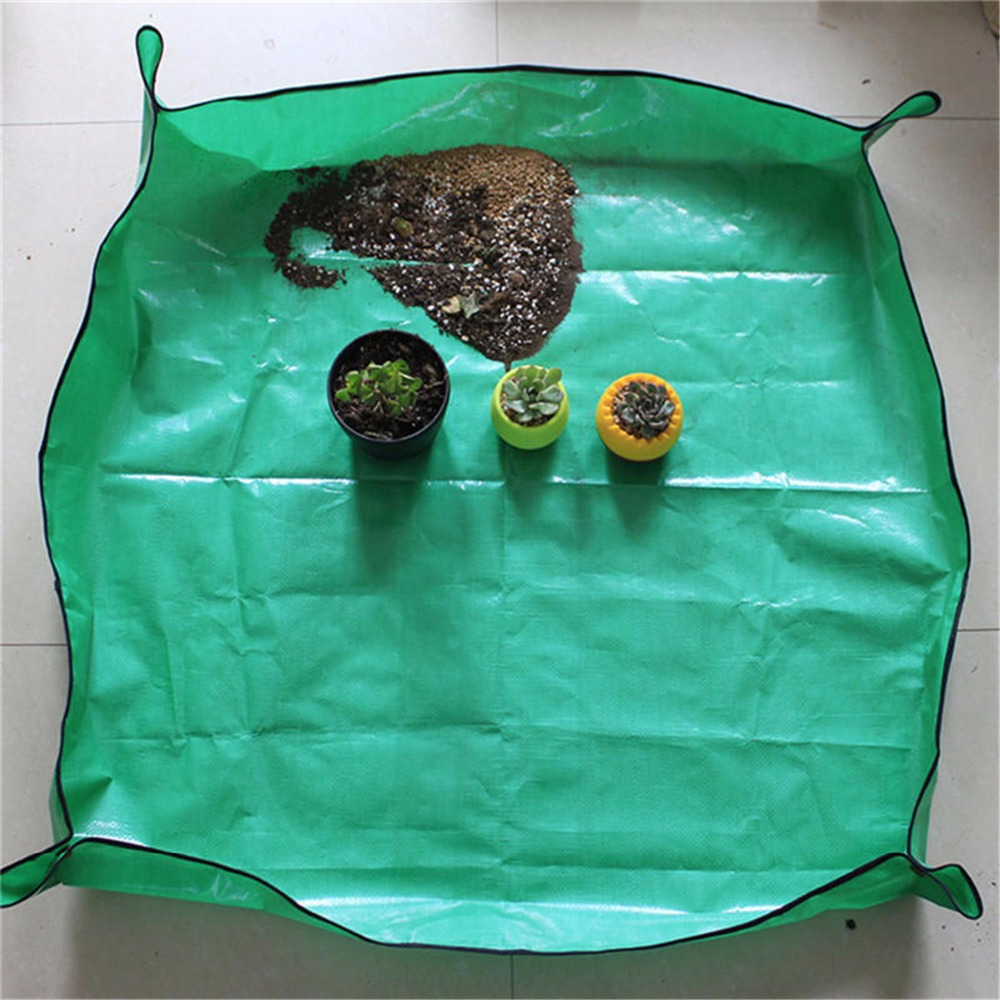 High Quality PE Film Waterproof Flower Transplanting Pot Pad Foldable Garden Kneelers Work Cloth Mat Green Plant Tools