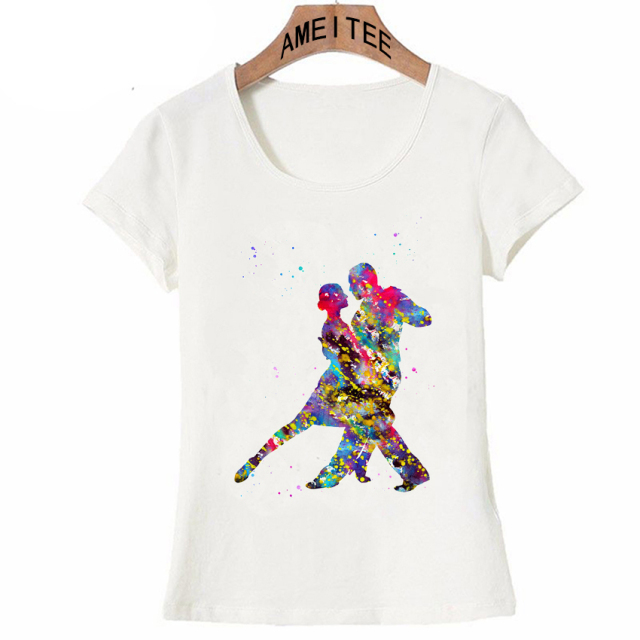 Women t-shirt Tango Dancers Argentine Dance colorful art T-Shirt maiden casual Tops hipster female Tees