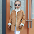 2016 Baby Girls Clothes Suede Girls Autumn&Winter Plus Velvet Outerwear Children's Clothing Thick Overcoat Kids Warm Fleece