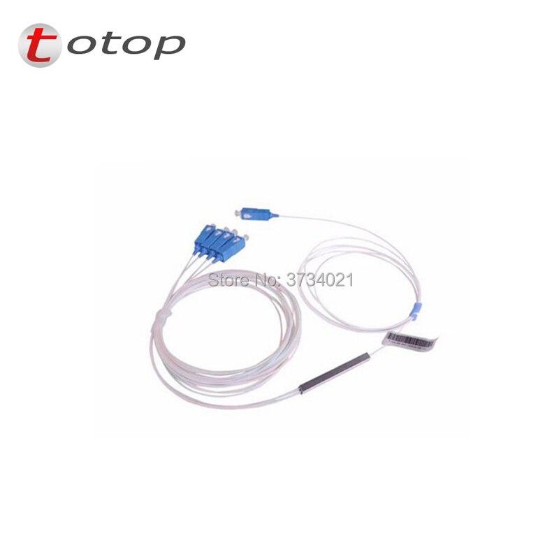 Free Shipping SCUPC 1X4 PLC Singlemode Fiber Optical splitter FTTH PLC Steel tube type SCUPC1x4 PLC optical fiber splitter