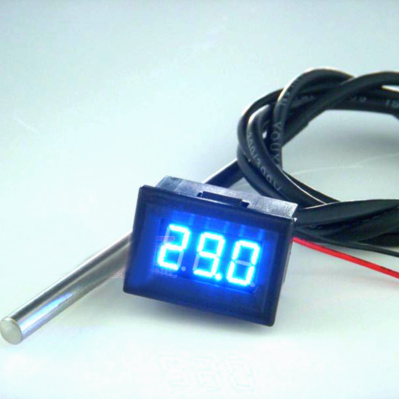 New Blue LED -55C-125C Digital Thermometer Temperature Meter with DS18B20 Sensor waterproof 0 56 red blue dual display digital led thermometer temperature meter waterproof metal probe sensor module 20 100 celsius