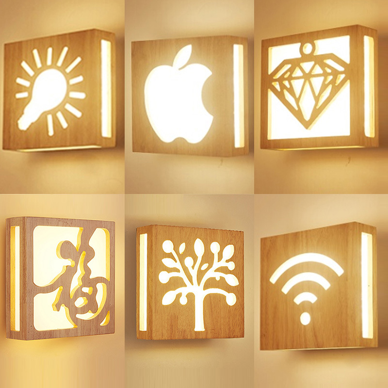 Nordic Solid Wood Led Wall Lamp Lustre Glass Living Room Led Wall Light Fixtures Bedroom Led Wall Lights Corrdior Wall Sconce in Wall Lamps from Lights Lighting