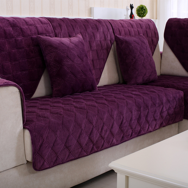 Soft Plush Fabric Slip Resistant Sofa Cover European Style Armrest Towel Purple Couch For Drawing Room Decorate
