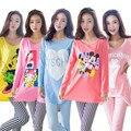 LIKEPINK 2017 Primavera Pijamas de Mujeres Pijamas de Algodón Pijama Mujer Femme Puntada Patrón de Dibujos Animados de Manga Larga ropa de Dormir de Mujer