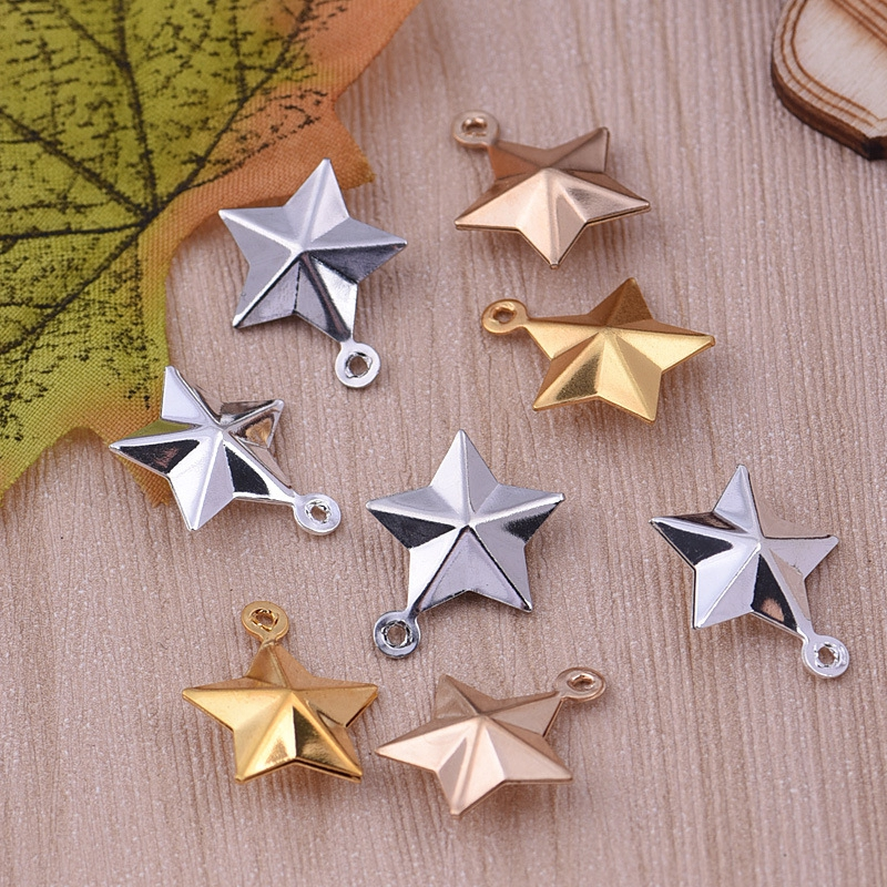 1pc Three dimensional five pointed star ornaments necklace small stars pendant diy copper jewelry accessories wholesale