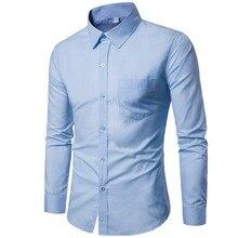b0d6e73e2132 Camisa homens chemise homme casuais mangas compridas de cor sólida magro  fit camisa de vestido dos homens de negócios roupas Mas.